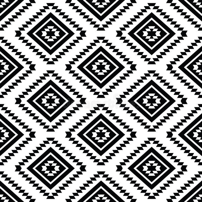 部族无缝的样式,黑白的阿兹台克人 库存例证