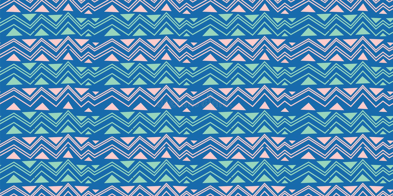 部族无缝的V形臂章三角样式 非洲印刷品装饰传统葡萄酒 五颜六色抽象的背景 拉长的现有量 向量例证