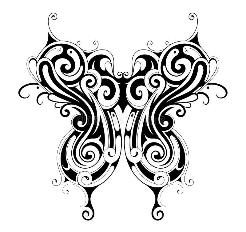 部族样式蝴蝶纹身花刺 库存例证