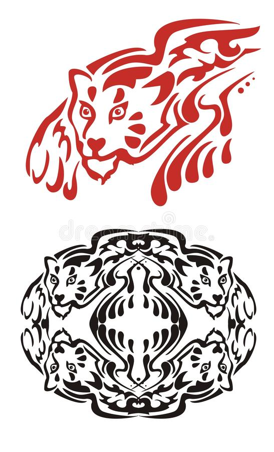 部族火焰状豹和黑豹圈子 向量例证