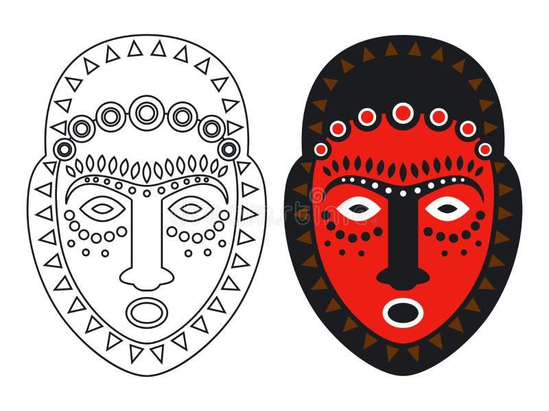 部族玛雅人、非洲面具- outlune和颜色面具传染媒介illustation 向量例证