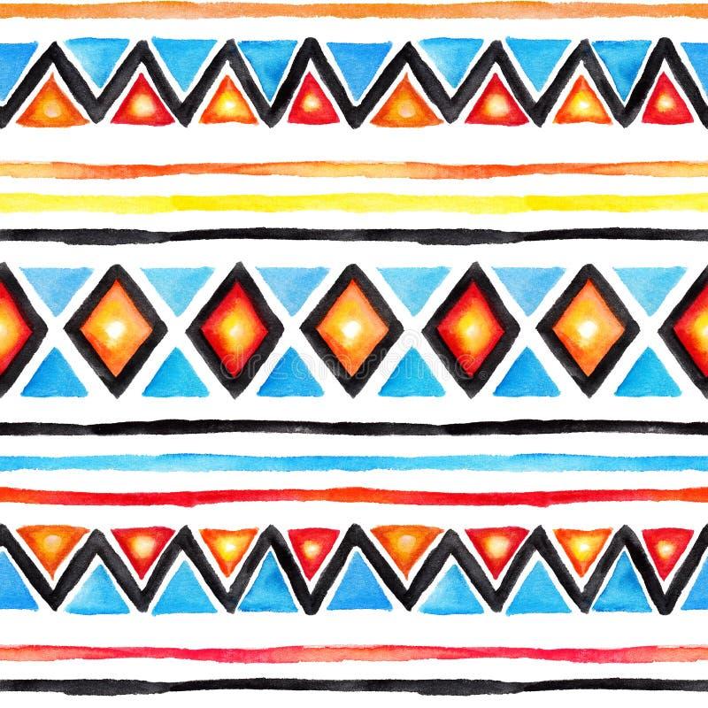 部族的模式 无缝的背景-葡萄酒boho种族设计 水彩 库存例证