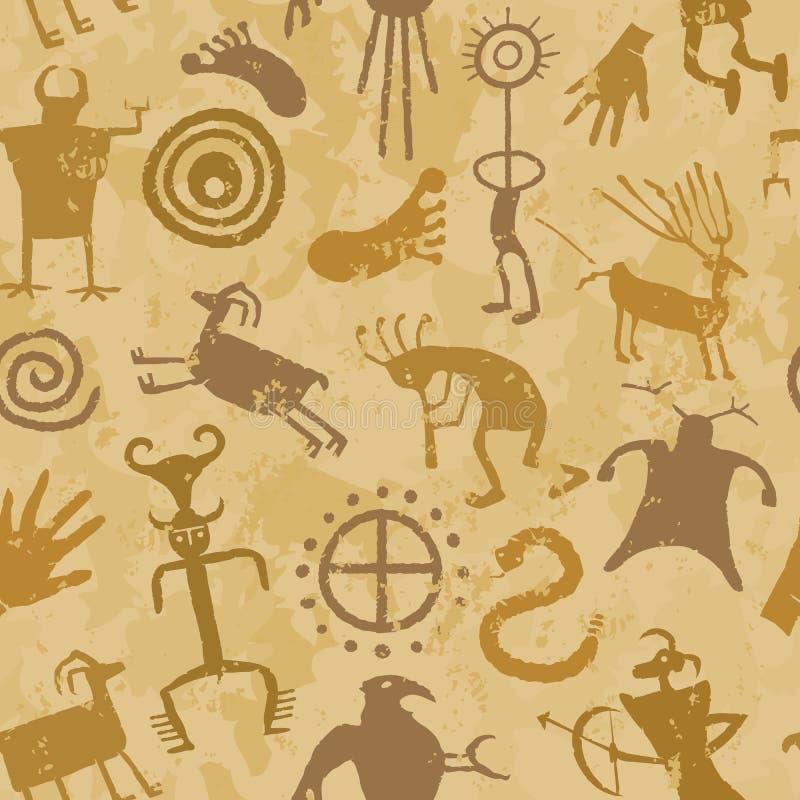 部族的石洞壁画 库存例证