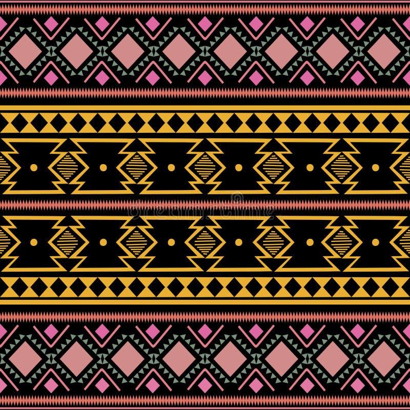 部族种族时尚纺织品印刷品阿兹台克非洲样式的葡萄酒五颜六色的时髦无缝的样式传染媒介例证 免版税库存照片