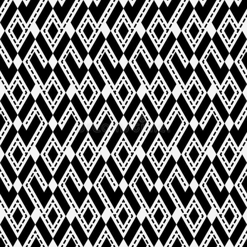 部族种族菱形单色无缝的样式 库存例证