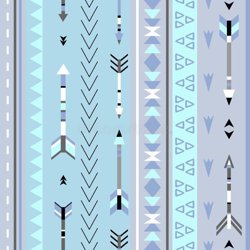 部族箭头boho无缝的样式 种族几何印刷品 向量例证