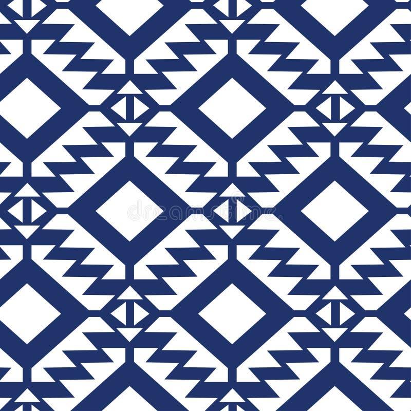 部族蓝色和白色几何无缝的样式 向量例证