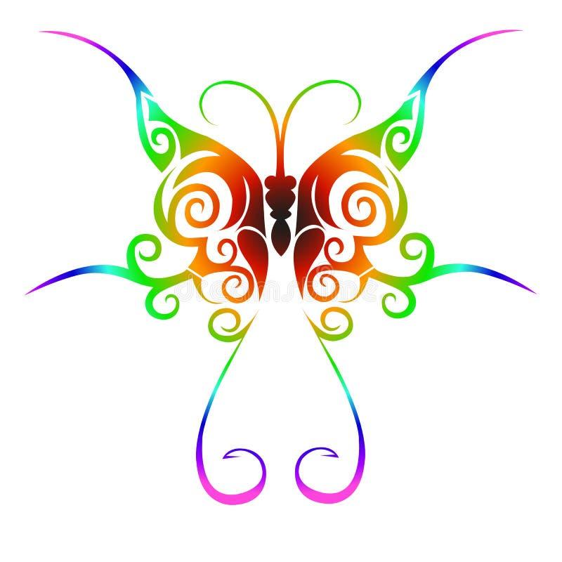 部族蝴蝶五颜六色的纹身花刺 向量例证