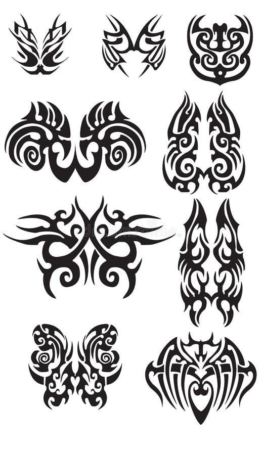部族蝴蝶纹身花刺的 向量例证