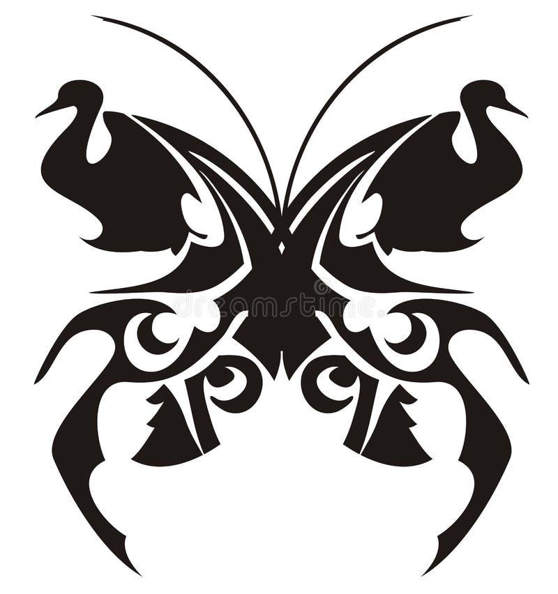 部族蝴蝶纹身花刺 向量例证