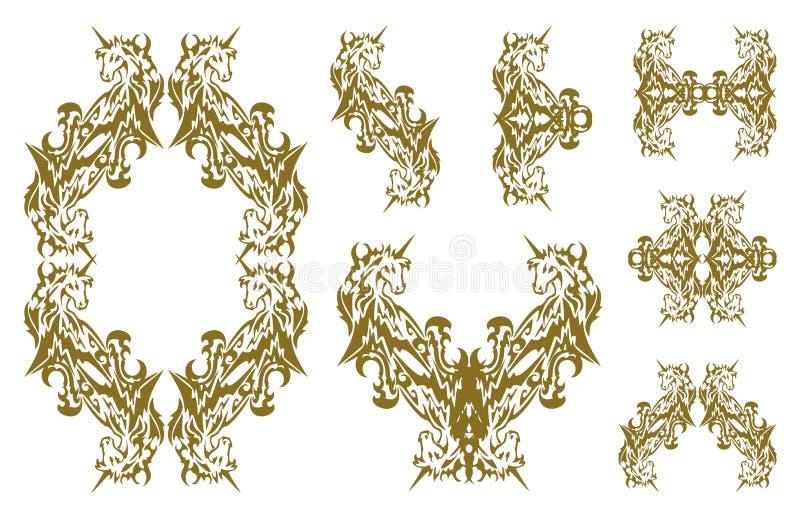 部族装饰金黄独角兽标志 库存例证