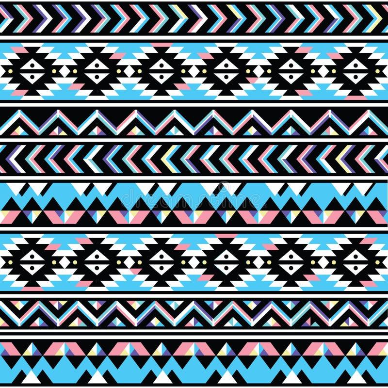部族阿兹台克无缝的蓝色和桃红色样式 向量例证