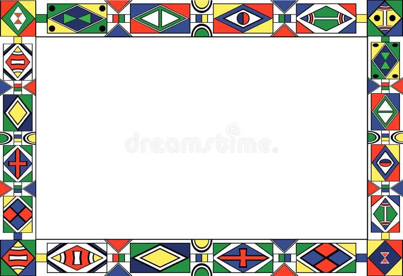 部族非洲艺术框架的模式s 库存例证