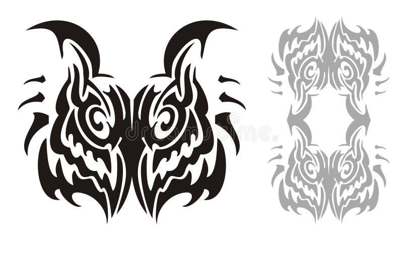 部族鸱头和猫头鹰框架 向量例证
