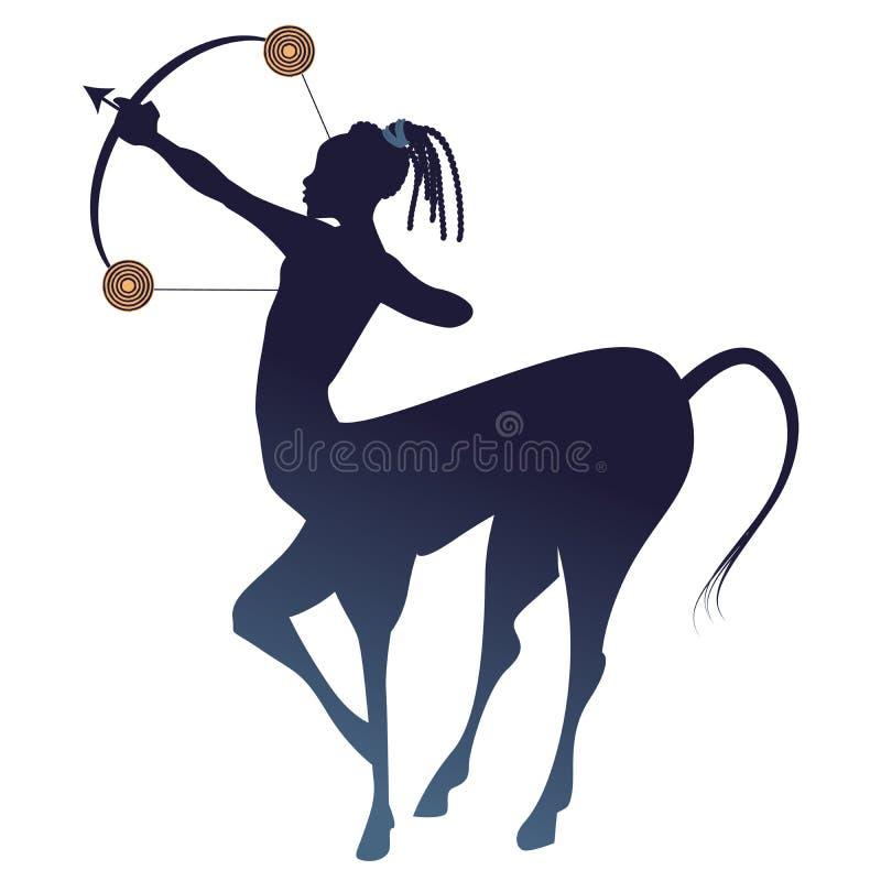 部族黄道带 人马座 名骑手、半人和半马,与弓箭在射击姿势 皇族释放例证