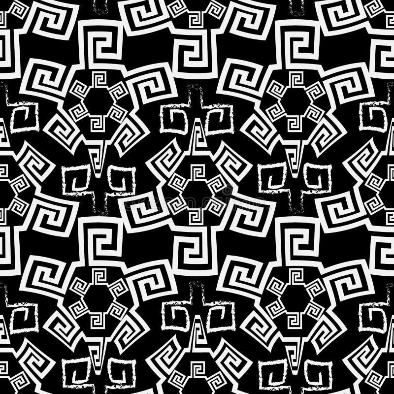 部族黑白希腊传染媒介无缝的样式 装饰种族背景 重复抽象背景 乱画白垩希腊语 向量例证