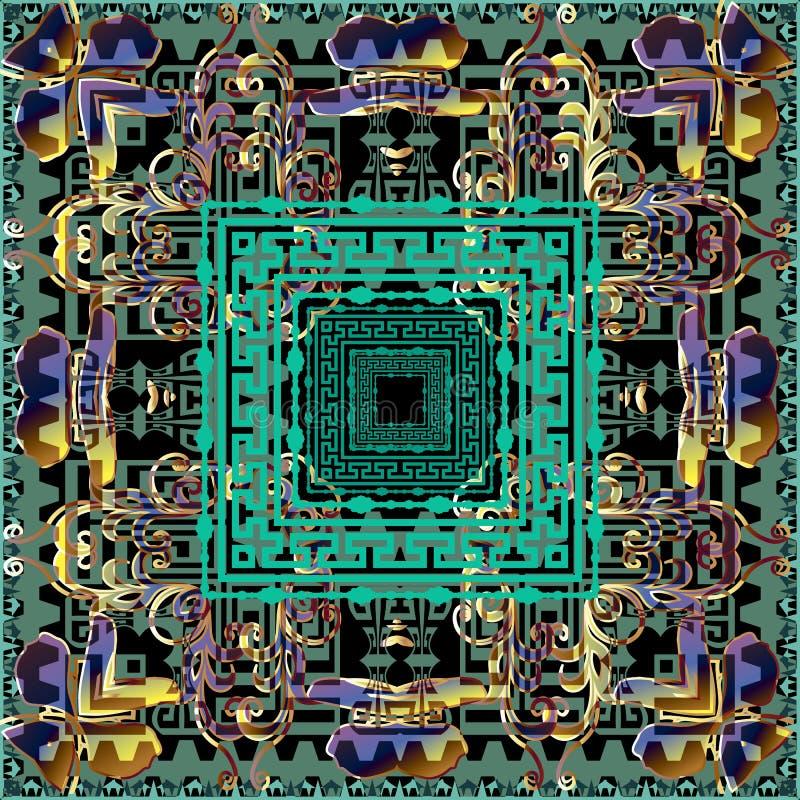 部落民族风格抽象矢量无缝模式 Colorful folf style geometric background 方形希腊键曲线 库存例证