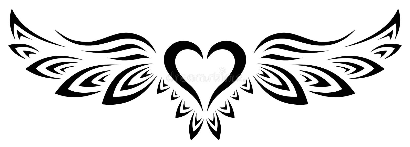 部落纹身天使心翼 库存照片