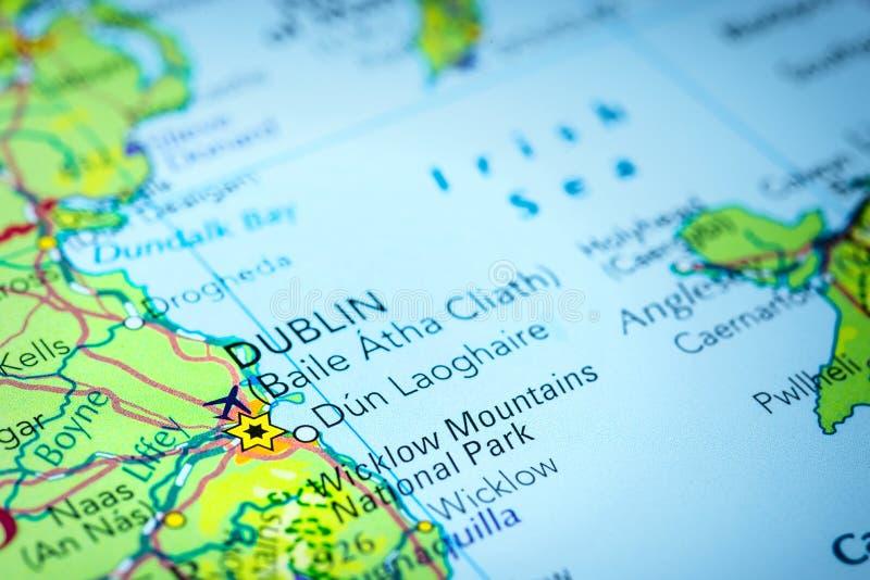 都伯林在地图的爱尔兰 免版税库存图片