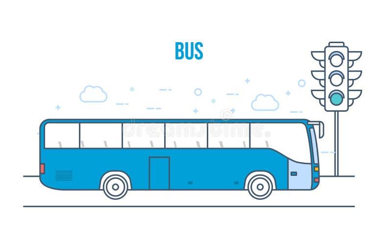 都市公共交通工具公共汽车,高摩天大楼,在城市街道上的房子 库存例证
