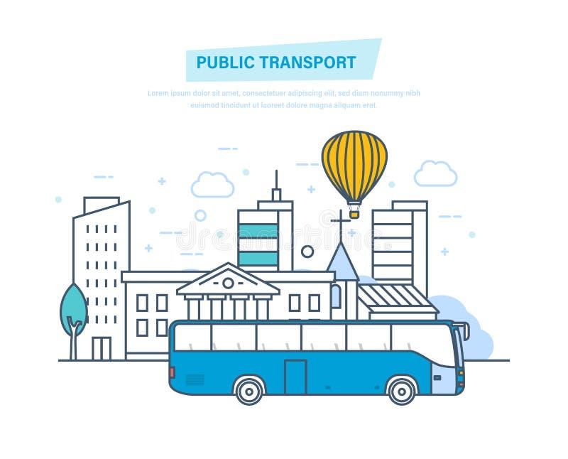 都市公共交通工具,高摩天大楼,在城市街道上的低房子 皇族释放例证