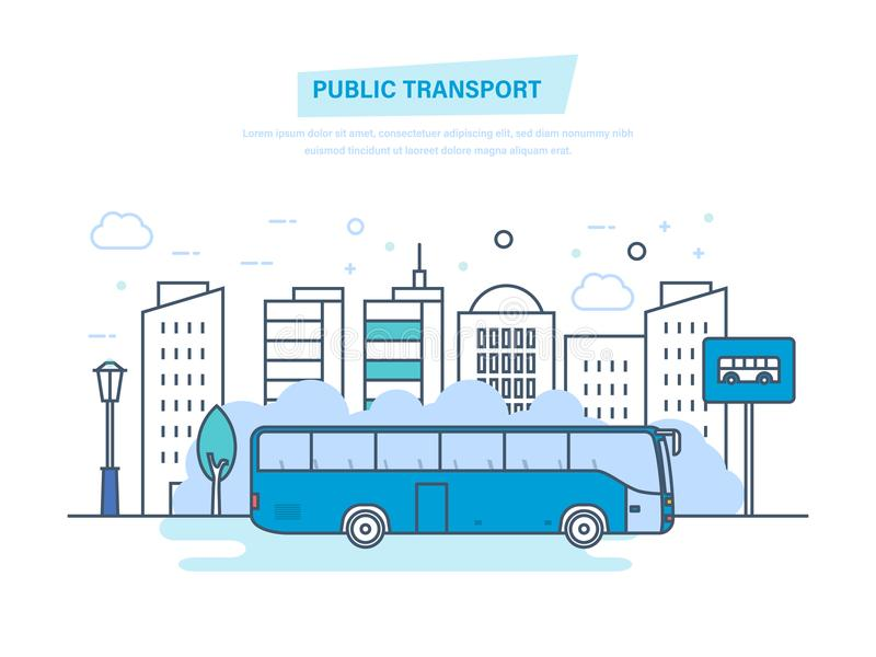 都市公共交通工具,高摩天大楼,在城市街道上的低房子 库存例证