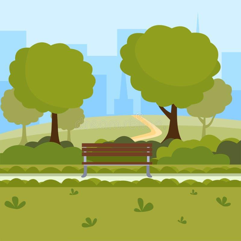 都市公园动画片传染媒介例证 在自然公共场所,绿色树的室外休闲,长木凳和现代 向量例证