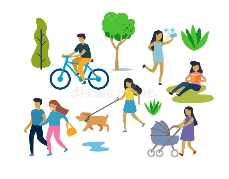 都市公园室外活动的人们 库存例证