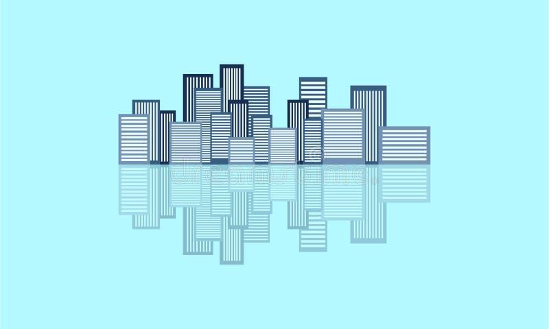都市剪影的城市和反射 向量例证