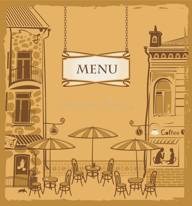 都市咖啡馆的菜单 库存例证