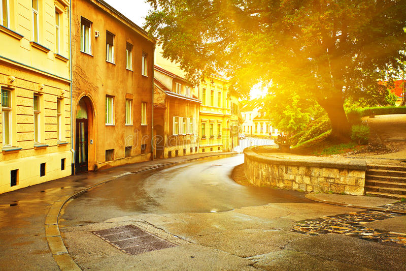 都市场面在萨格勒布。 克罗地亚。 免版税库存照片