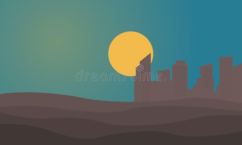 都市城市剪影沙漠的 皇族释放例证