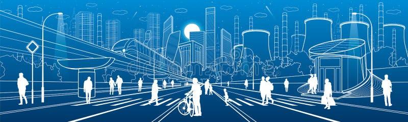 都市城市基础设施例证 走在街道的人们 现代镇建筑学 在桥梁的火车移动 被阐明的上流 库存例证