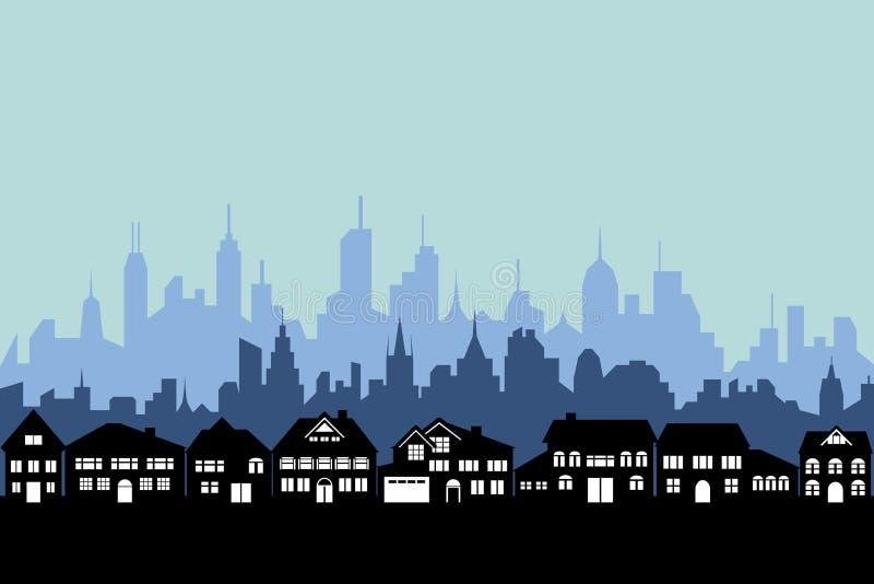 都市城市的郊区 皇族释放例证