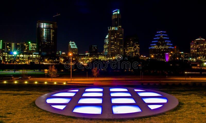 都市奥斯汀中央得克萨斯夜都市风景 免版税图库摄影