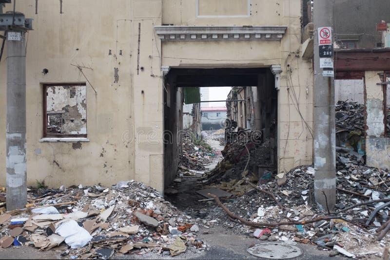 都市少数民族居住区破坏 库存图片
