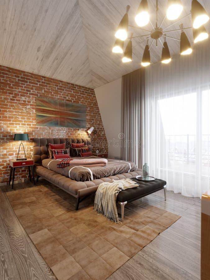 都市当代现代斯堪的纳维亚顶楼卧室 免版税图库摄影
