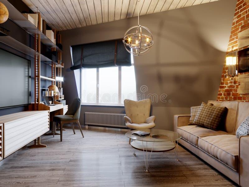 都市当代现代斯堪的纳维亚顶楼客厅 免版税库存图片