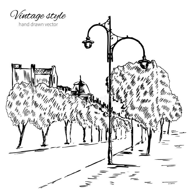 都市概述墨水剪影,有街灯的走的城市欧洲街道,单色手拉的葡萄酒传染媒介 库存例证