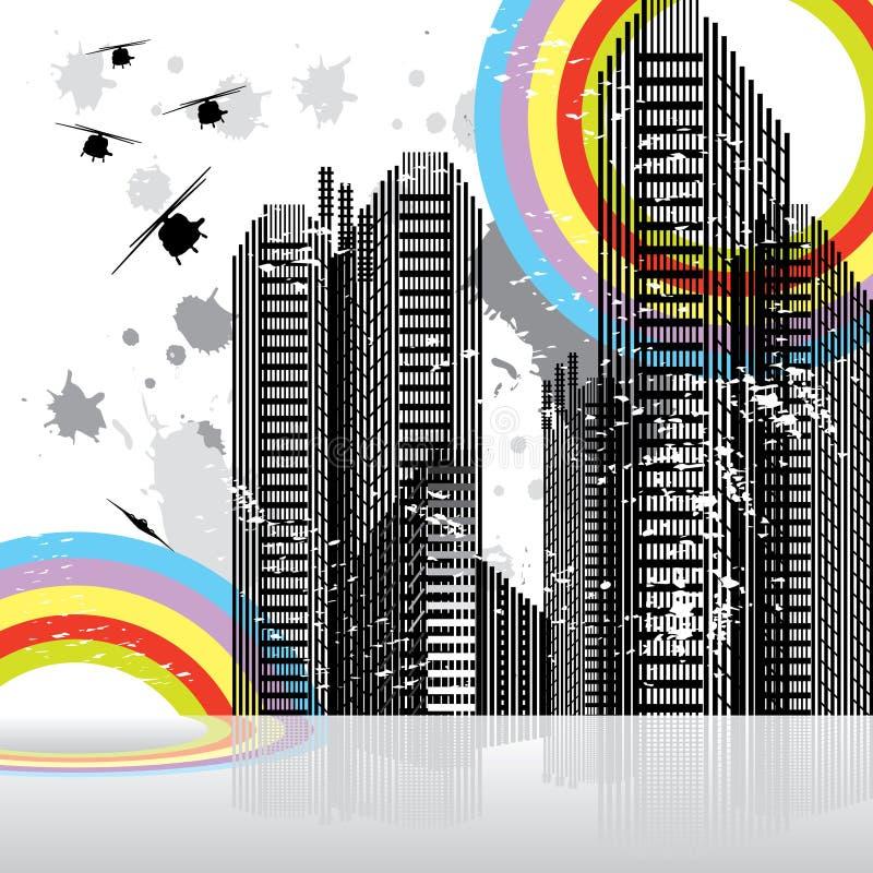 都市横向的场面 向量例证