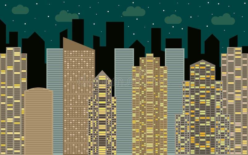 都市横向的晚上 与都市风景、摩天大楼和现代大厦的街道视图 向量例证