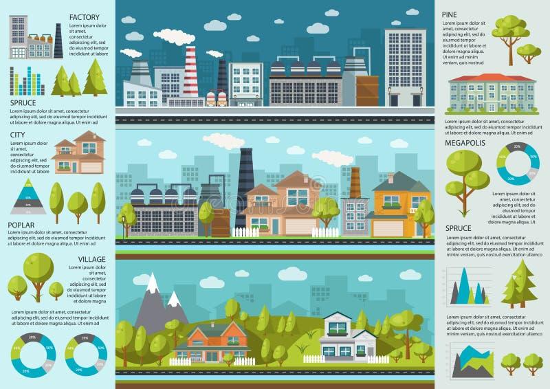 都市生活Infographics 库存例证