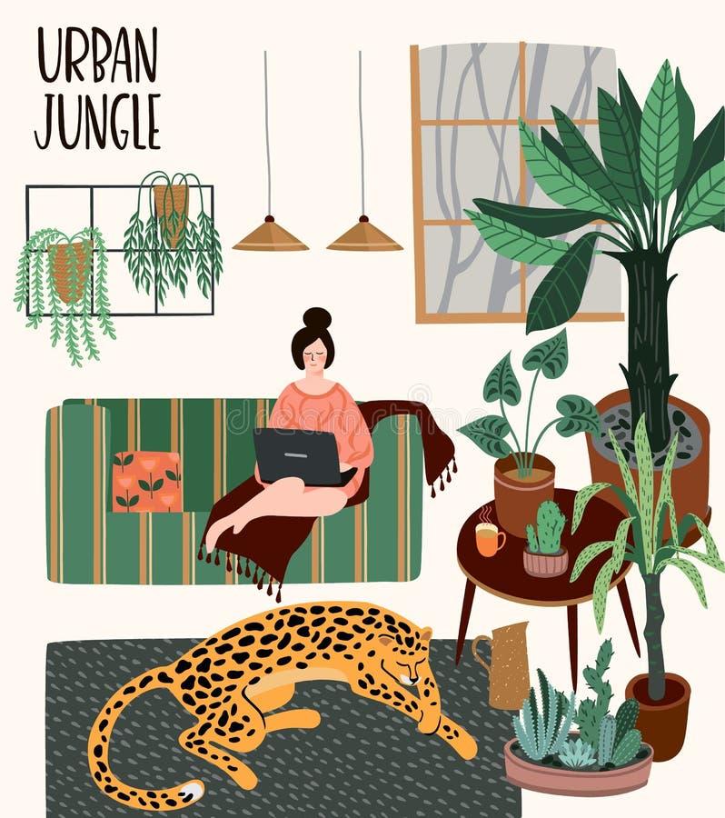 都市的密林 与时髦家庭装饰的传染媒介例证 向量例证