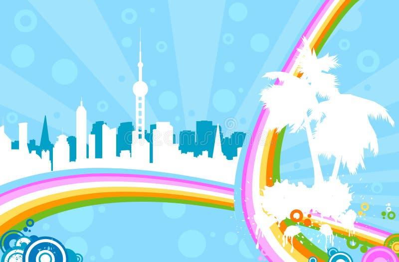 都市的彩虹 皇族释放例证
