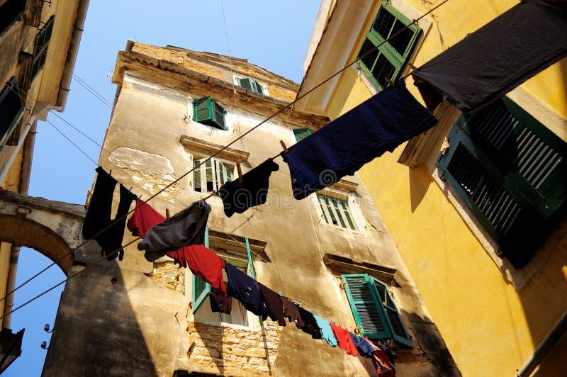 都市的晾衣绳 库存照片