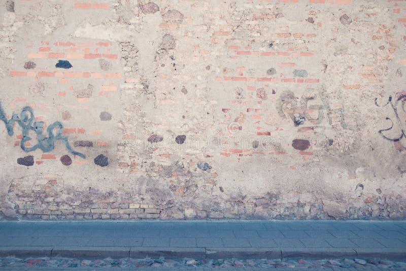 都市的背景 空的街道墙壁和路面 库存图片