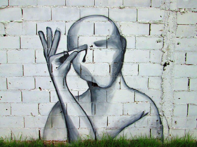 都市的艺术 张开受伤的你的眼睛 免版税库存照片