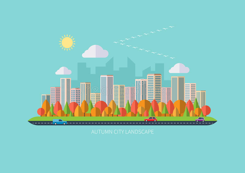 都市秋天的横向 向量例证