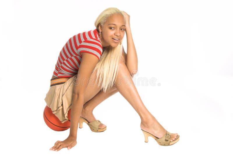 都市篮球的女孩 库存照片