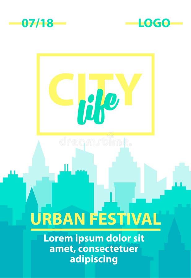 都市背景城市设计带淡红色的光芒地平线的星期日 与都市风景的海报模板 在平的样式的蓝色淡色城市剪影 都市风景 库存例证